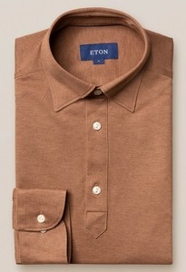 Eton Long Sleeve Piqué Polo Button Under Polo Nougat