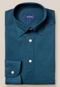 Eton Long Sleeve Piqué Polo Button Under Polo Petrol