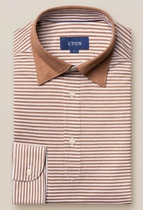 Eton Long Sleeved Stripe Polo Beige