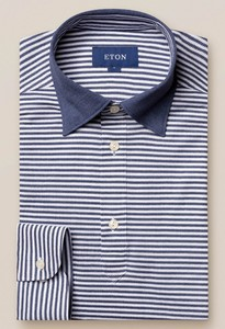Eton Long Sleeved Stripe Polo Navy
