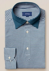 Eton Long Sleeved Stripe Polo Petrol