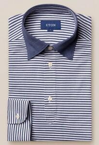 Eton Long Sleeved Stripe Poloshirt Navy
