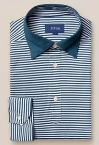 Eton Long Sleeved Stripe Poloshirt Petrol