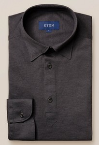 Eton Longsleeve Piqué Button Under Polo Donker Grijs