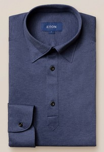 Eton Longsleeve Piqué Button Under Polo Indigo Blauw