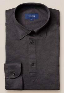 Eton Longsleeve Piqué Button Under Poloshirt Dark Gray