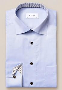 Eton Medallion Detail Signature Twill Uni Overhemd Licht Blauw