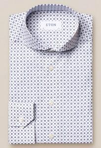 Eton Medallion Pattern Signature Twill Overhemd Blauw