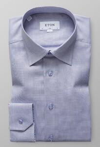 Eton Melange Oxford Overhemd Avond Blauw
