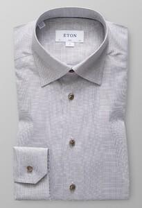 Eton Melange Oxford Shirt Off White-Brown