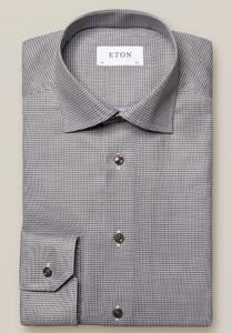 Eton Micro Check Cutaway Overhemd Grijs