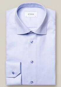 Eton Micro Check Cutaway Overhemd Licht Blauw