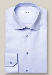 Eton Micro Check Cutaway Shirt Light Blue