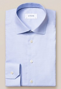 Eton Micro Check Fine Twill Overhemd Licht Blauw