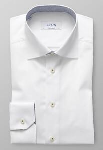 Eton Micro Contrast Uni Poplin Overhemd Wit
