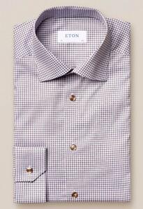 Eton Micro Flower Signature Twill Overhemd Beige