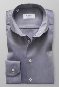 Eton Micro Weave Twill Overhemd Donker Blauw