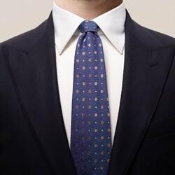 Eton Multi Dotted Silk Tie Burgundy