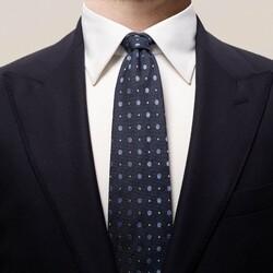 Eton Multi Dotted Silk Tie Dark Navy
