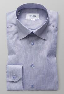 Eton Oxford Faux Uni Melange Shirt Evening Blue