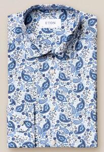 Eton Paisley Poplin Overhemd Sky Blue