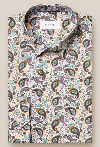 Eton Paisley Poplin Super Slim Overhemd Groen