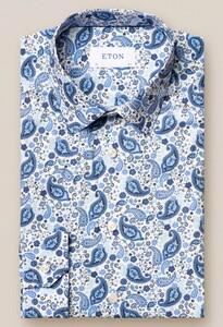 Eton Paisley Poplin Super Slim Overhemd Sky Blue