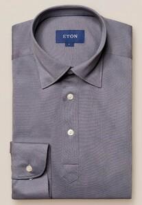Eton Piqué Long Sleeve Button Under Polo Shirt Polo Grijs