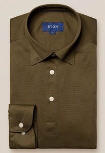 Eton Piqué Long Sleeve Button Under Polo Shirt Polo Groen
