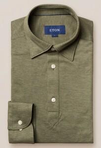 Eton Piqué Long Sleeve Button Under Polo Shirt Polo Olive