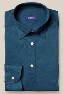 Eton Piqué Long Sleeve Button Under Polo Shirt Polo Petrol