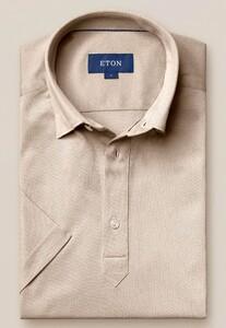 Eton Piqué Poloshirt Polo Licht Bruin