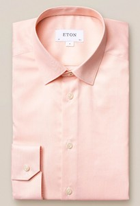 Eton Pointed Signature Twill Overhemd Licht Oranje