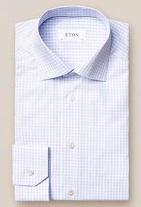 Eton Poplin Check Overhemd Licht Blauw