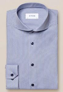 Eton Poplin Fine Pattern Overhemd Blauw