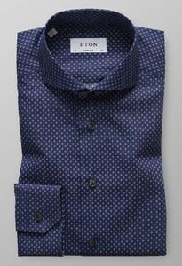 Eton Poplin Micro Contrast Overhemd Dark Navy