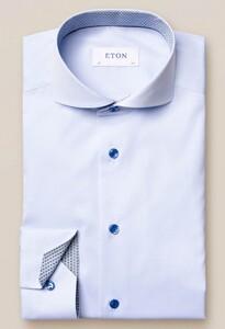 Eton Poplin Uni Fine Detail Overhemd Licht Blauw