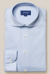 Eton Premium Uni Piqué Overhemd Licht Blauw