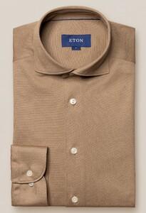 Eton Premium Uni Piqué Overhemd Licht Bruin