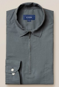 Eton Resort Zipper Uni Polo Shirt Polo Dusty Olive