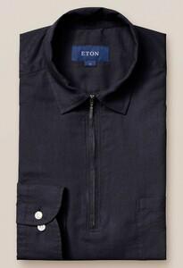 Eton Resort Zipper Uni Polo Shirt Polo Navy