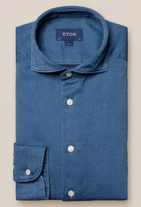 Eton Satin Indigo Overhemd Indigo