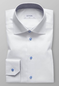 Eton Signature Twill Button Contrast Overhemd Wit