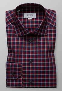 Eton Signature Twill Check Overhemd Rood-Navy