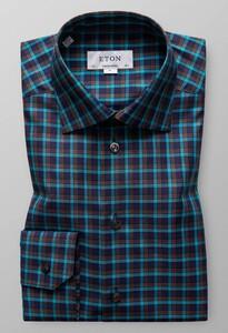 Eton Signature Twill Check Overhemd Turquoise