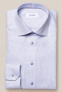 Eton Signature Twill Fashion Check Pattern Shirt Blue