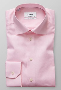 Eton Signature Twill Fine Herringbone Sleeve 7 Overhemd Roze