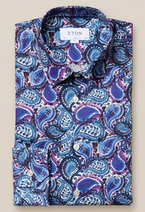 Eton Signature Twill Painted Paisley Overhemd Teal