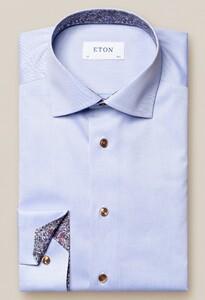 Eton Signature Twill Paisley Detail Shirt Light Blue