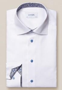 Eton Signature Twill Paisley Detail Shirt White